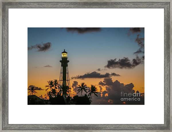 Framed Print featuring the photograph Lighthouse At Dawn #1 by Tom Claud