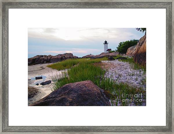 Lighthouse At Dusk Framed Print