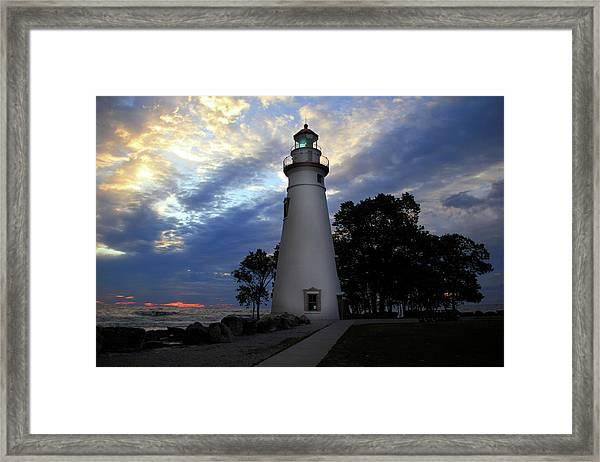 Lighthouse At Sunrise Framed Print