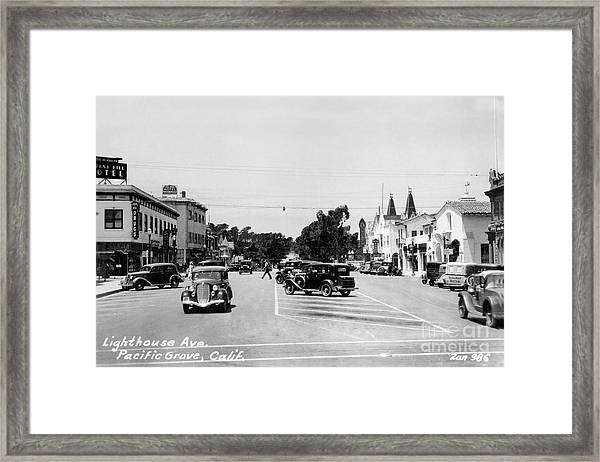 Lighthouse Avenue Downtown Pacific Grove, Calif. 1935  Framed Print