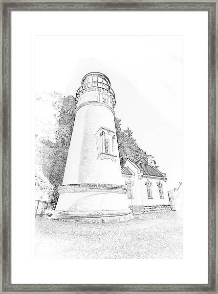 Lighthouse In Oregon Framed Print