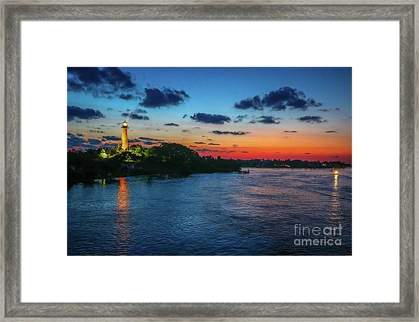 Framed Print featuring the photograph Lighthouse Light Beam by Tom Claud