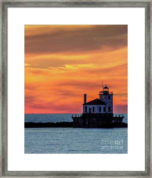 Lighthouse Silhouette Framed Print