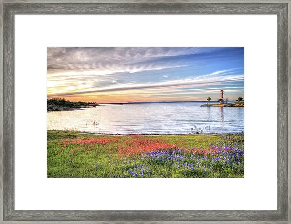 Lighthouse Sunset At Lake Buchanan Framed Print