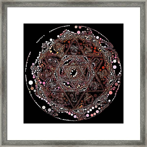 Framed Print featuring the digital art Lightmandala 6 Star Morph 4 by Robert Thalmeier