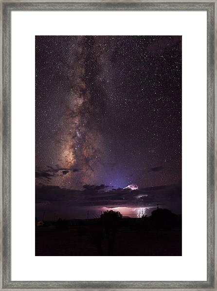 Lightning And Milky Way Framed Print