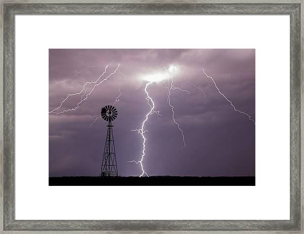 Lightning And Windmill -02 Framed Print