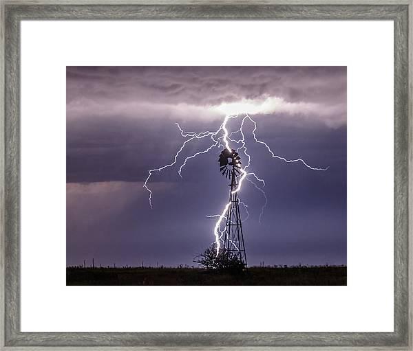 Lightning And Windmill Framed Print