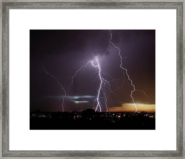 Lightning At Dusk Framed Print