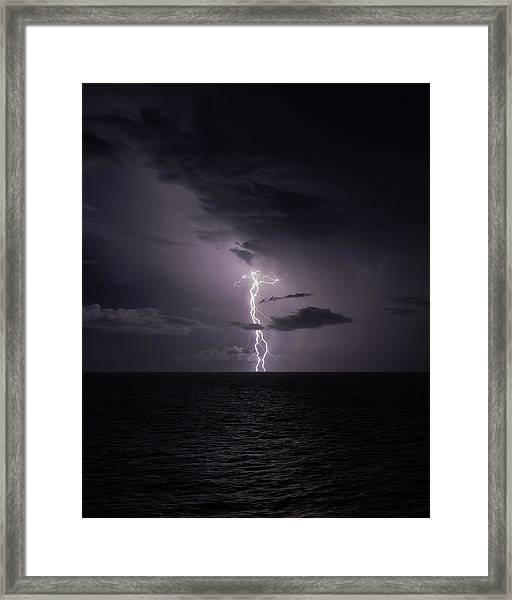 Framed Print featuring the photograph Lightning At Sea I by William Dickman