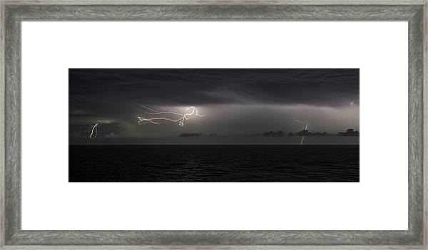 Framed Print featuring the photograph Lightning At Sea II by William Dickman