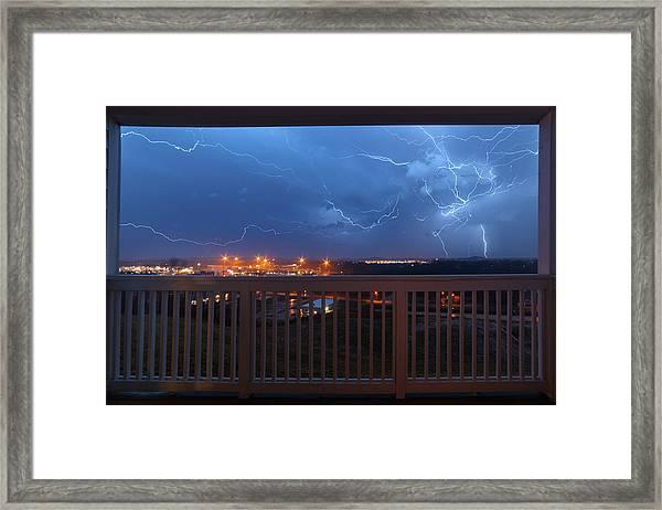 Lightning From The Balcony Framed Print