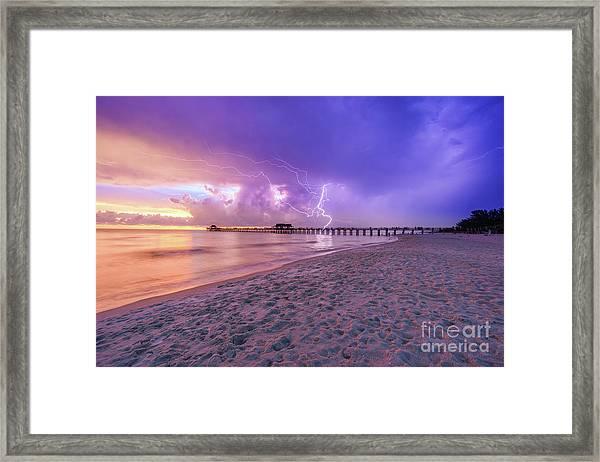 Lightning Naples Pier Framed Print