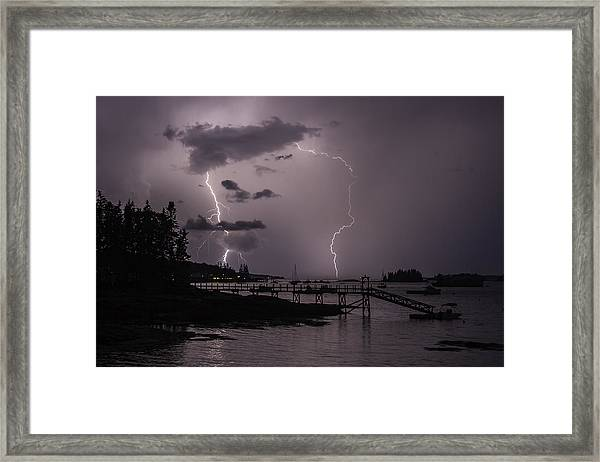 Lightning Over Boothbay Harbor Framed Print