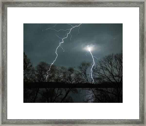 Lightning Over Little Sugarloaf Framed Print