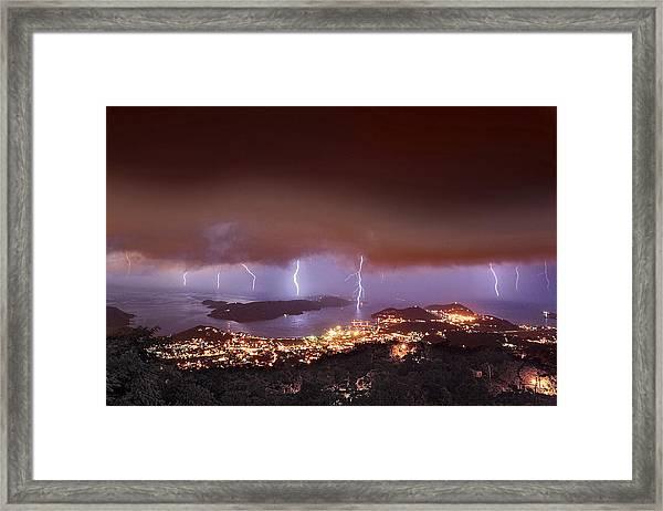 Lightning Over Water Island Framed Print