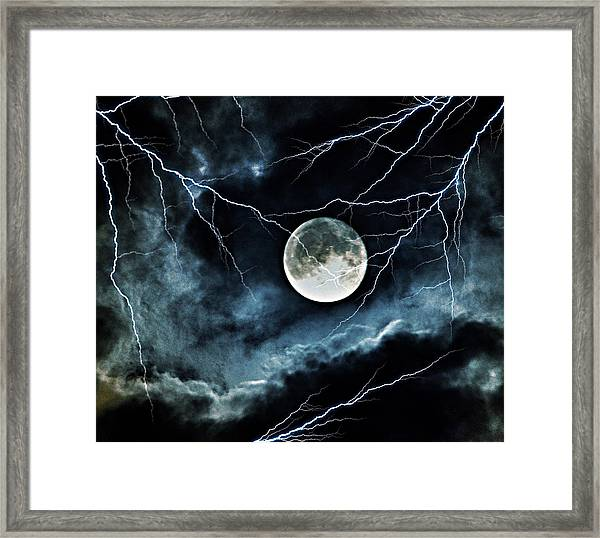Lightning Sky At Full Moon Framed Print