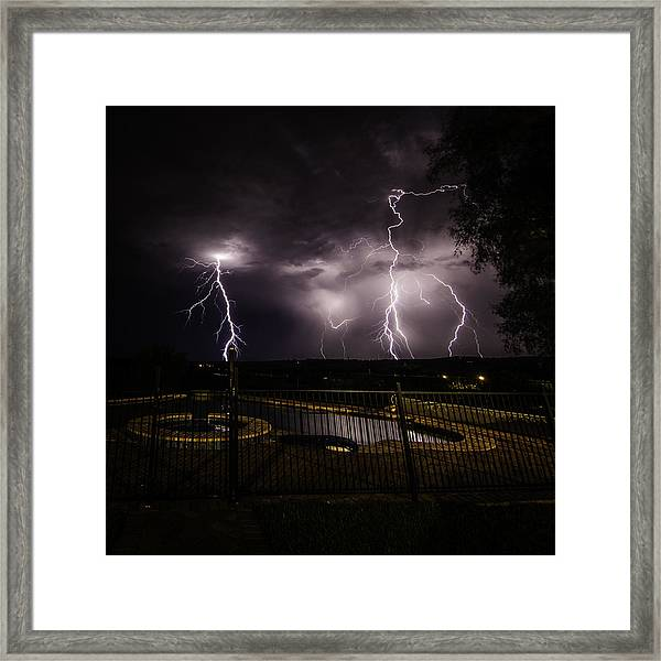 Framed Print featuring the photograph Lightning Strikes by Chris Cousins