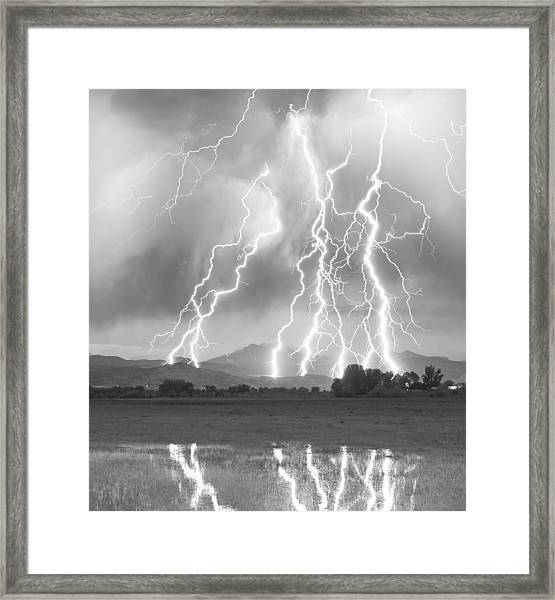 Lightning Striking Longs Peak Foothills 4cbw Framed Print