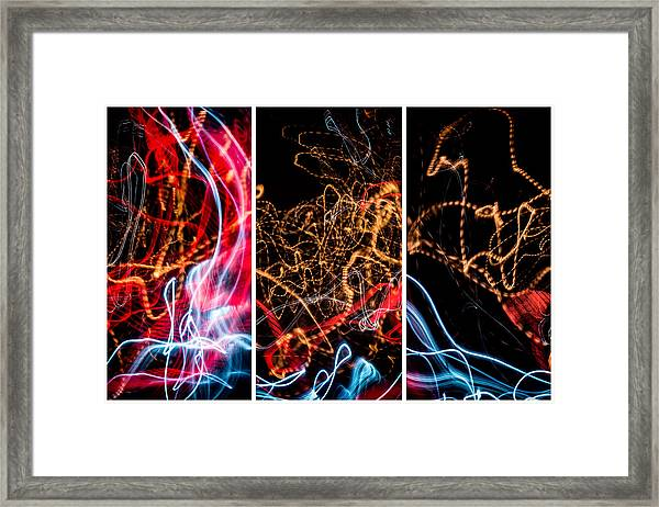 Lightpainting Triptych Wall Art Print Photograph 5 Framed Print
