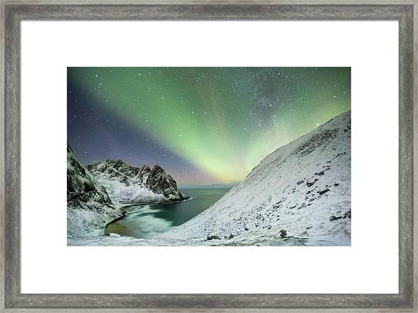 Lights Above Kvalvika Framed Print