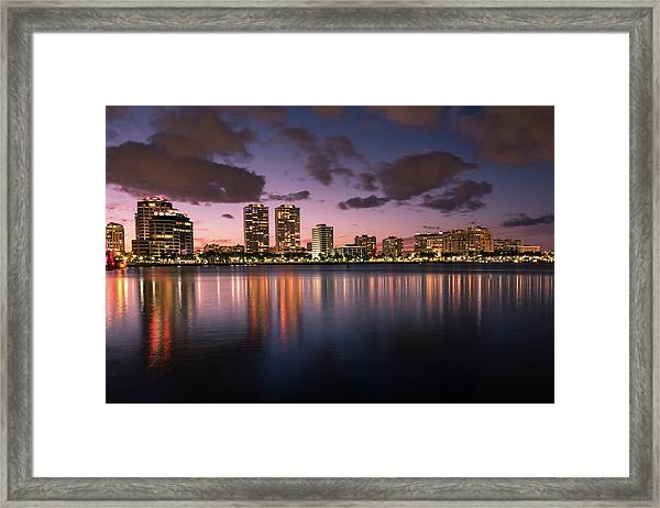 Lights At Night In West Palm Beach Framed Print