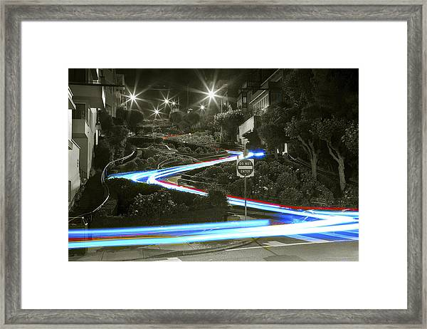 Lights On Lombard Black And White Framed Print