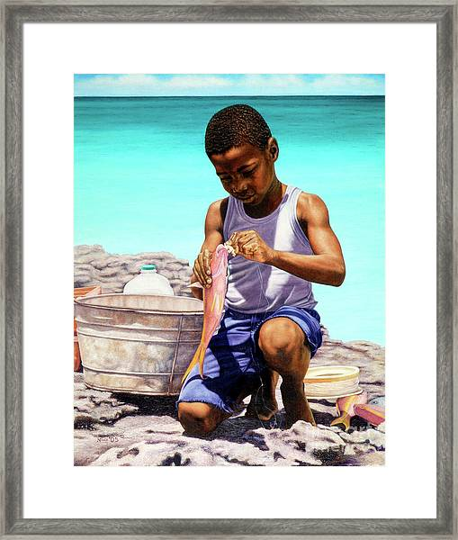Lil Fisherman Framed Print