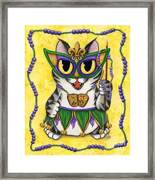 Lil Mardi Gras Cat Framed Print