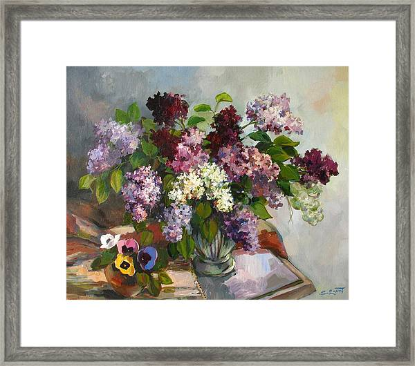 Lilacs And Pansies Framed Print