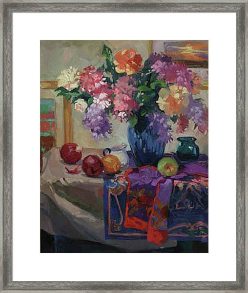 Lilacs And Peonies Framed Print
