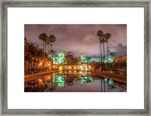 Lily Pond At Night Framed Print