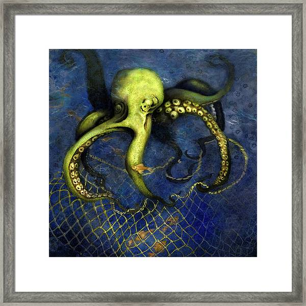 Lime Green Octopus With Net Framed Print