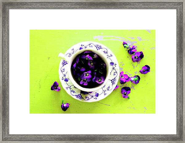Lime Violet Tea Cup Framed Print
