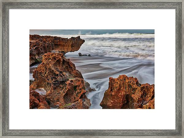 Framed Print featuring the photograph Limestone Ocean by David A Lane
