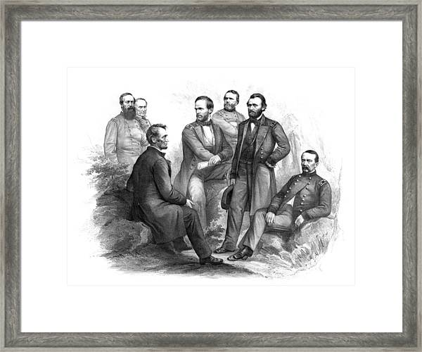 Lincoln And His Generals Black And White Framed Print