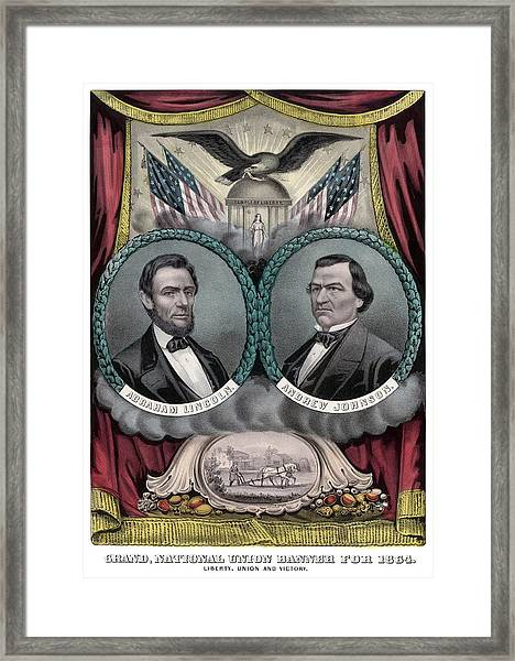 Lincoln And Johnson Election Banner 1864 Framed Print
