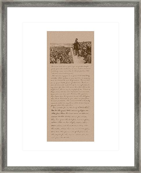 Lincoln And The Gettysburg Address Framed Print