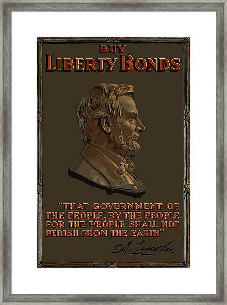 Lincoln Gettysburg Address Quote Framed Print