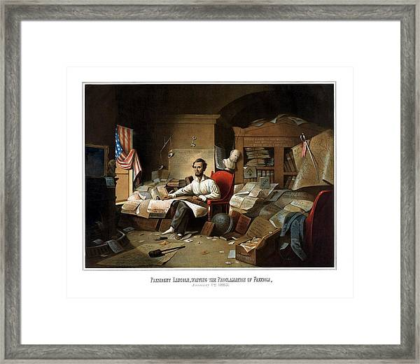Lincoln Writing The Emancipation Proclamation Framed Print