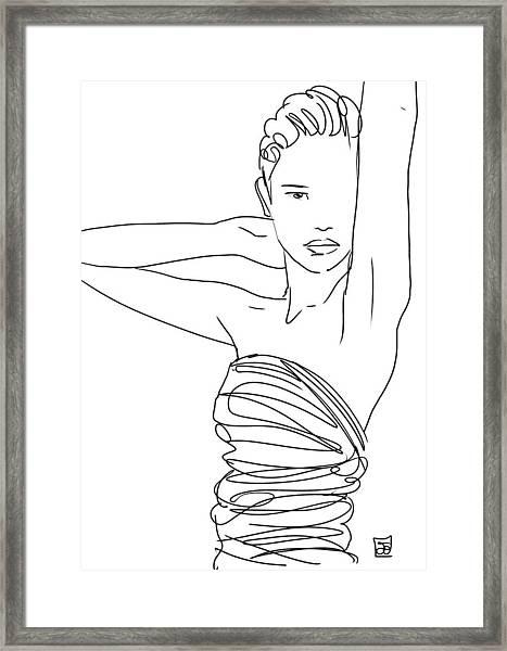 Line Art Lady Framed Print
