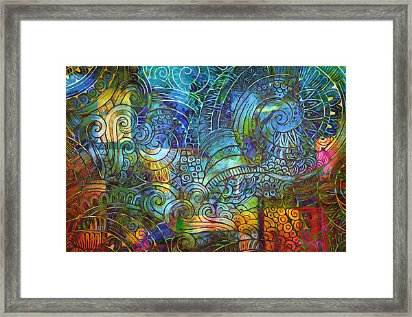 Linear Decor Blue Framed Print