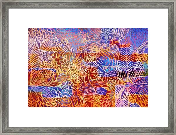 Linear Flowers Framed Print