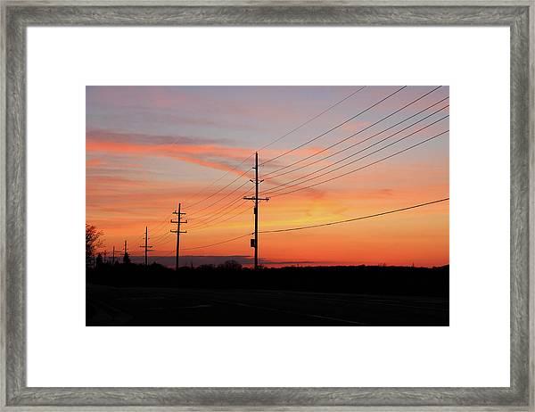 Lineman's Sunset Framed Print