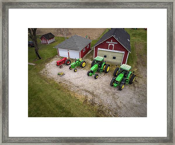 Lining Up The Tractors Framed Print