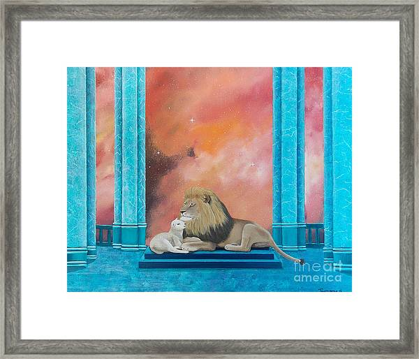 Lion And Lamb Framed Print