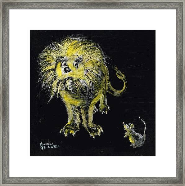 Lion And The Mouse Framed Print