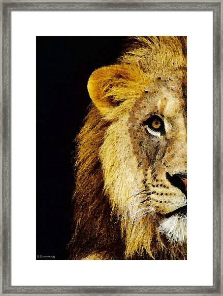 Lion Art - Face Off Framed Print