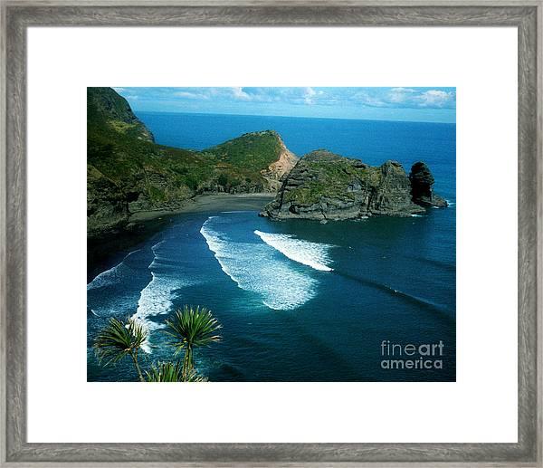 Lion Beach Piha New Zealand Framed Print