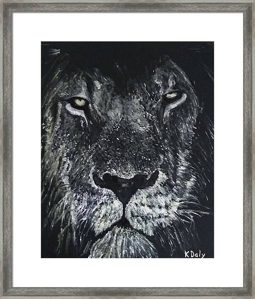 Framed Print featuring the painting Lion by Kevin Daly